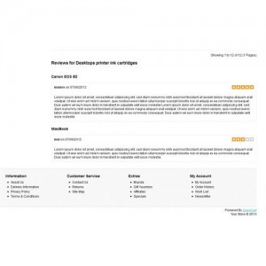 Product Reviews on Category page